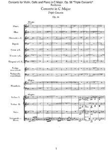 Beethoven L. - Concerto for Violin, Cello and Piano with Orchestra Score