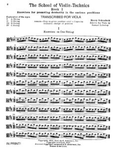 Schradieck H. - School of Violin Technics - Alto Transcription