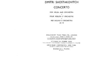 Shostakovich D. - Concert №1 for Violin and Orchestra Op.99 Score